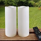 HOME MOST Pack of 2 White LED Candles Outdoor 3x8 - Unscented IP65 Waterproof Battery Powered Flameless LED Pillar Candles with Remote and Timer - Battery Operated Flameless Candles Flickering