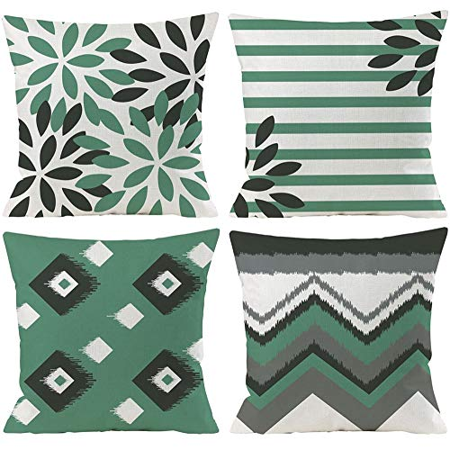Wilproo Teal Floral Throw Pillow Covers 18 x 18 Inch Set of 4 Geometric Cushion Cover Square Pillowcase Cotton Linen Outdoor for Sofa Couch Patio Home Decor