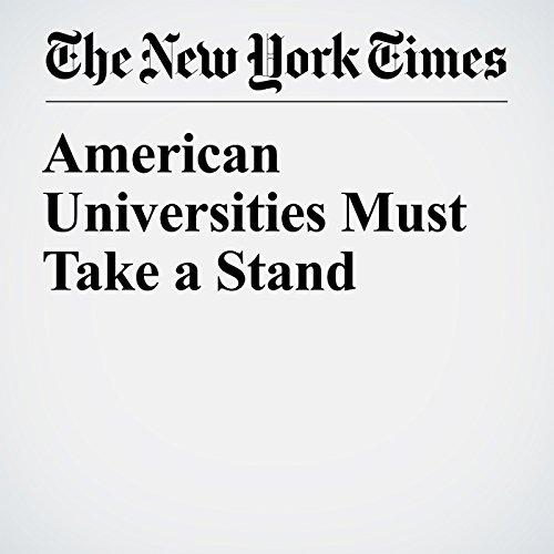 American Universities Must Take a Stand copertina