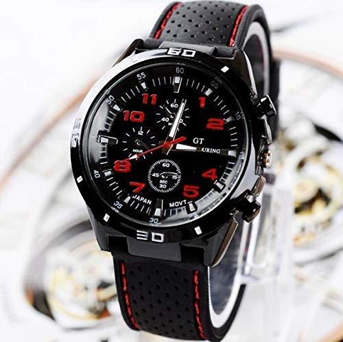 SYYSYY Avanzado Reloj Deportivo para Correr Reloj de Cuarzo de Goma de la Marca Mujeres Hombres Reloj de Pulsera de Moda Relojes Tres Ojos Relogio Feminino Masculino Rojo