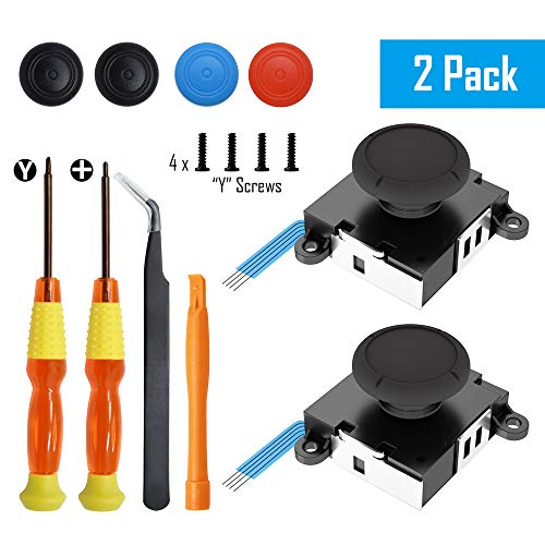 Replacement Joystick Analog Thumbsticks for Switch Joy-Con Controller &Switch Lite (2 Pack), Repair Kit Includes Tri-Wing, Philips Screwdriver, Pry Tools & 4 Thumb Caps (Black)