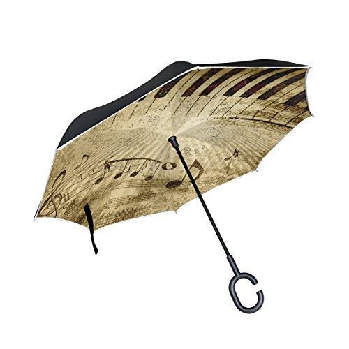 mydaily Double Layer seitenverkehrt Regenschirm Cars Rückseite Regenschirm Klavier Schlüssel Musik Note Vintage winddicht UV Proof Reisen Outdoor Regenschirm