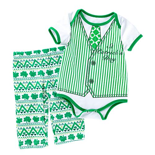 Baby Boy My First St Patricks Day Outfit Shamrocks Green Toddler Bodysuit Pant Clothing Set Baby Boys Lucky Clover