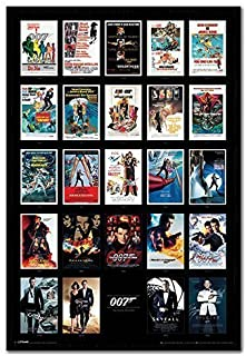 James Bond 007 Movie Posters Including Spectre Poster Black Framed & Satin Matt Laminated - 96.5 x 66 cms (Approx 38 x 26 inches)