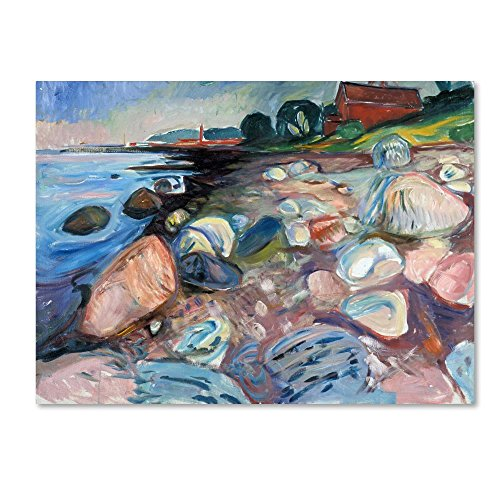 Shore With Red House by Edvard Munch, 14x19-Inch Canvas Wall Art