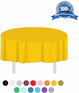 Anborfly Yellow Plastic Tablecloth 6 Pack Disposable Round Table Cloths 84in. x 84in. Table Covers for Parties Birthdays Picnic Weddings Christmas Indoor or Outdoor Use