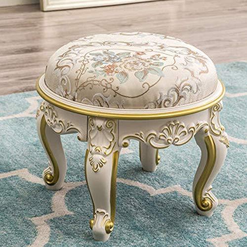 YUDIAN Taburete otomano redondo, de cuero, taburete bajo, asiento acolchado redondo, suave, compacto, acolchado, sala de estar, dormitorio y silla de habitación para niños