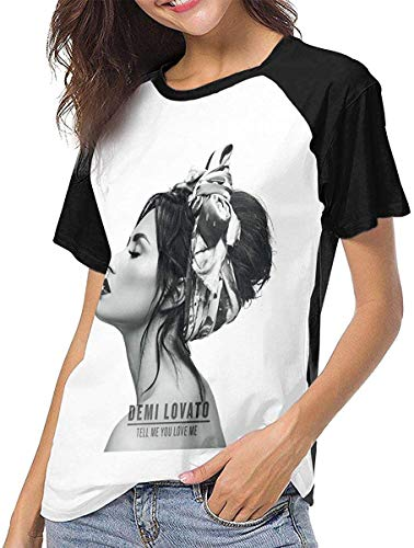 Demi Lovato Women Round Neck Short Sleeve Jersey Baseball T-Shirt Raglan T-Shirt,Black,X-Large