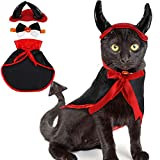 3 Pieces Cat Costume Halloween Pet Costumes Set, Pet Halloween Vampire Costume Cape with The Devil Horn and Halloween Cat Collar Pet Tie for Halloween Pet Costume