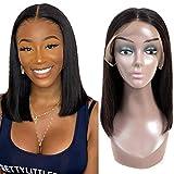 ALI RAIN Bob Lace Front Wigs Human Hair (14 Inch) 150% Density Brazilian Straight Bob Wig Glueless Human Hair Wigs for Black Women Pre Plucked Bleached Knots