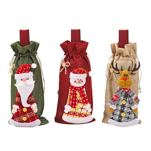 PRETYZOOM Botella de vino, traje de Papá Noel, reno, muñeco de nieve,...