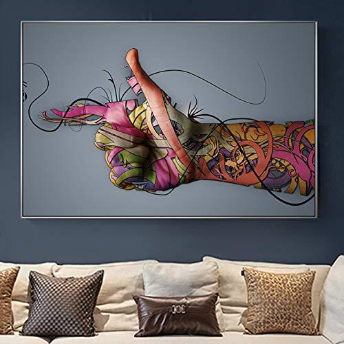 Domrx Abstracto Colorido Tatuaje Mano Pistola Gesto Lienzo Pintura en Pared Arte Cartel e Impresiones Imagen Decorativa para Sala de estar-70x100cm sin Marco