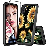 Bereajoy is Suitable for Galaxy A11 Mobile Phone case with Tempered Glass Screen Protector, Double-Layer Anti-Drop case, Suitable for Samsung Galaxy A11(Sunflower-4)