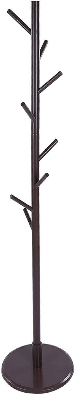 Dunkle Kaffeefarbe Omabeta Zusammengebauter Holzmantel Hutst/änder Baum Jackentuch Vertikaler Aufh/änger Rack 8 Haken Scheibentyp Werkzeugfreie Installation Boden Garderobe Aufbewahrungsregal