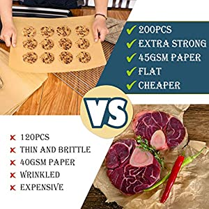 Hiware 200 Pieces Parchment Paper Baking Sheets 9x13 Inches, Precut Non-Stick Parchment Paper for Baking, Cooking… |
