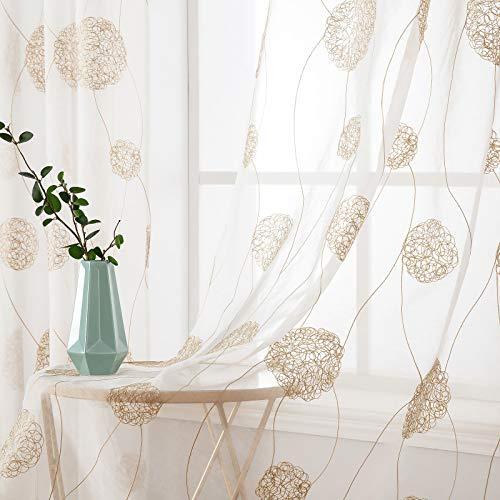 MIULEE Sheer Vorhang Voile Blumen Stickerei Vorhänge mit Ösen transparent Gardine 2 Stücke Ösenvorhang Gaze paarig schals Fensterschal für Wohnzimmer Schlafzimmer 260 cm x 140 cm(H x B) 2er-Set