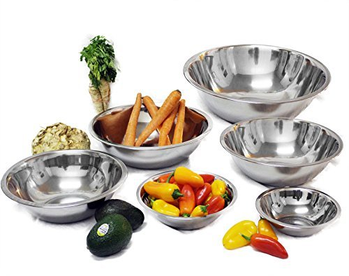 Tiger Chef Stainless Steel Mixing Bowls Set for Kitchen - Nesting Prep Bowls (Set of 6)