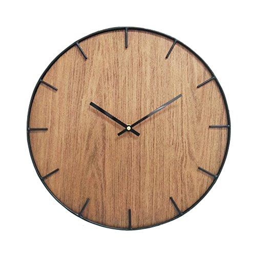 Rebecca Mobili Orologio decorativo, orologi da appendere, stile rustico, legno metallo, complemento d'arredo per sala cucina - Misure: Ø 40 cm x P 4,5 cm - Art. RE6142