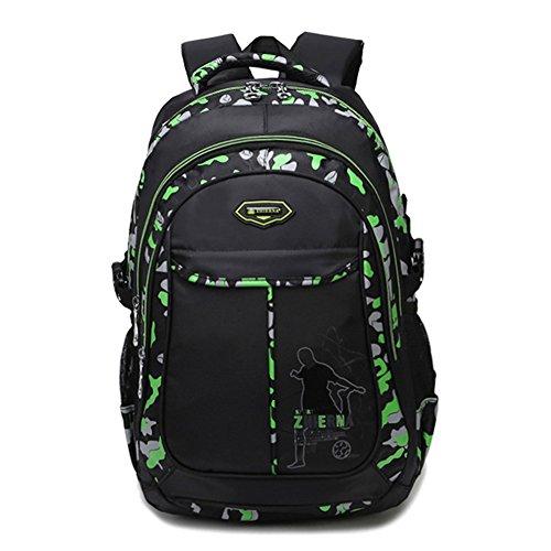 Zaini scuola per ragazzi impermeabile durevole Bookbag studente zaino, Verde-15.6 (verde) - 43390-5690