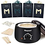 Wax Kit for Women Men, Hair Removal Waxing Kit with Hard Wax Beans for Coarse Hair Bikini Eyebrow, Blue Wax Beads Refills for Wax Warmer