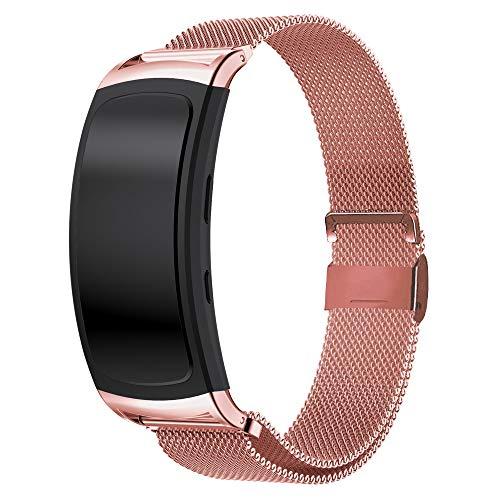 Uatone Armband für Samsung Gear fit 2/Gear Fit 2 Pro,Edelstahlband Sport Armband Uhrenarmband für Samsung Gear Fit 2 SM-R360/Fit 2 Pro SM-R365 (Rose Pink)