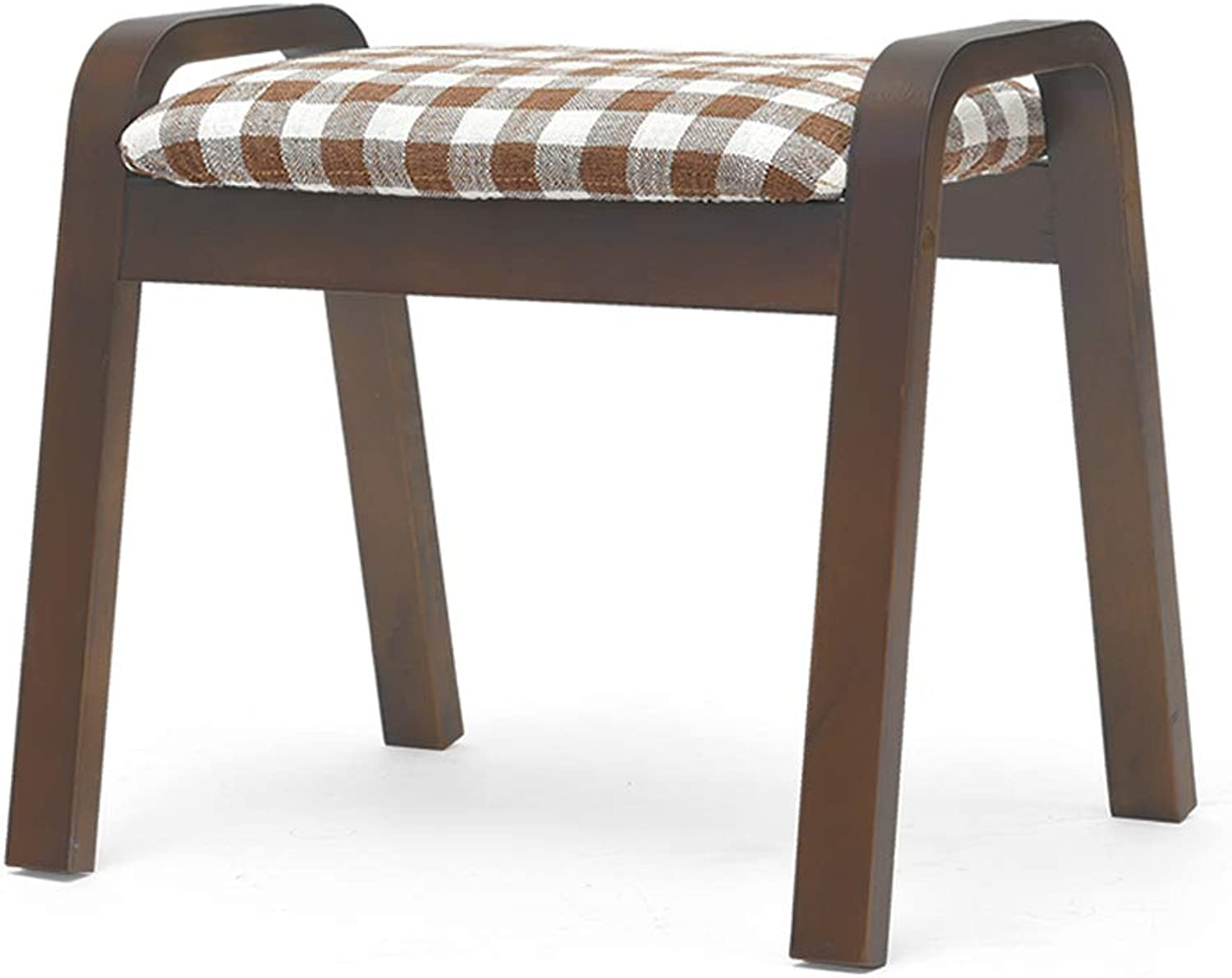 CQ Home Stool Creative Stool Living Room Adult Solid Wood Bench Fabric Stool Sofa Change shoes Bench Brown Chair Leg