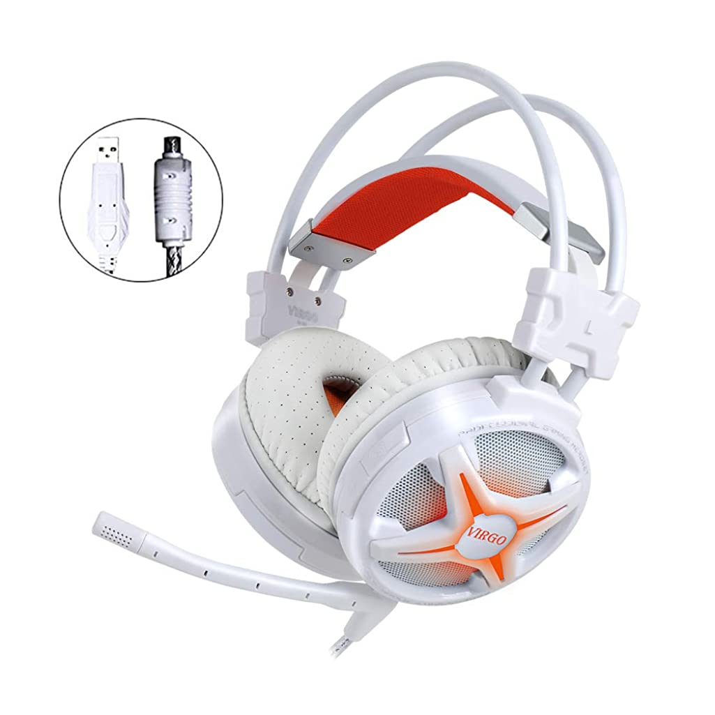 WeIM 2019 Gaming Headset Virgo M60 White 7.1 Surround Sound for PC, Intelligent Vibration, Strong Bass, Voice Changer, Flexible Sensitive Mic, LED Illumination, USB Connector, Compatible with PS4