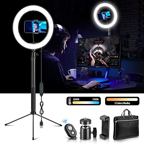 HQQNUO Ring Light avec Trépied, Réglable LED Lumière Anneau avec Trépied et Support pour Téléphone pour Vidéo Youtube/Caméra/Maquillage/Selfie/Diffusion en Direct