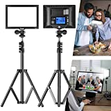 Switti 2-Pack(S20) Video Light with Tripod, Dimmable Bi-Color 3200K-5600K/CRI95+ Ultra-Thin Camera Panel Light, Video Lighting Kit for Live-Stream Video Conference YouTube Makeup