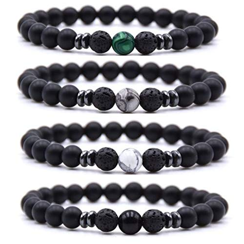 Anti-Swelling Black Obsidian Anklet,Weight Loss Magnet Anklet,Adjustable Weight Loss Black Stone Magnetic Anklet for Foot Pain Relief for Men or Women (Style B)