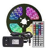 QPOWY Tira de luz LED RGB RGB 5050 SMD Tira de luz led RGB 10M Diodo de Cinta DC 12V Adaptador de Control Remoto