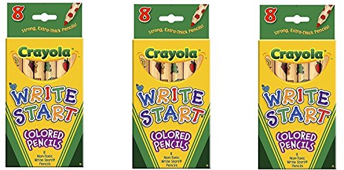 Crayola Write Start Colored Pencils 8 Pack 68-4108 (3-Pack)