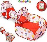 NUBUNI 3 en 1 Tienda Campaña Infantil : Piscina de Bolas + Casita Infantil + Tunel Infantil: Plegable Parque Bebe Bolas Infantil Jardín Exterior Interior Juguetes Niños Niñas Bebes Casitas Tela Tipi