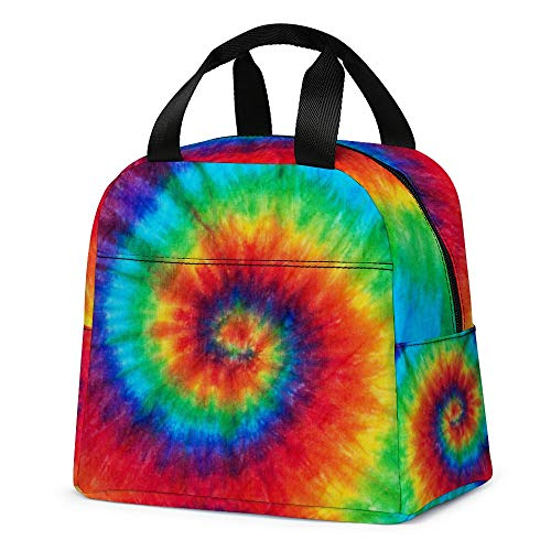 Tie Dye Lunch Bag, Cute Kids Insulated Lunch Box Reusable Cooler Tote Bag Multi-functional School Lunch Container for Teen Boys Girls (Red)