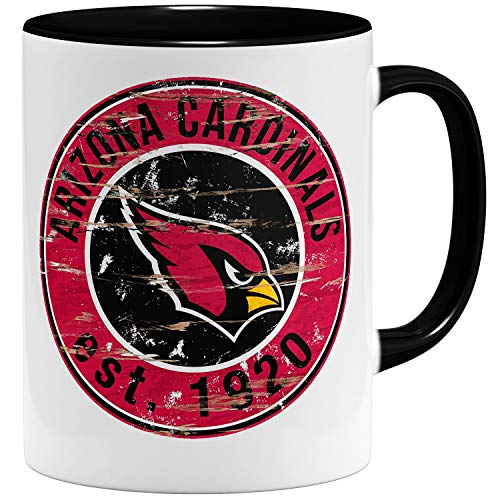 OM3® Arizona Badge Tasse   Keramik Becher   11oz 325ml   American Football Mug   Schwarz
