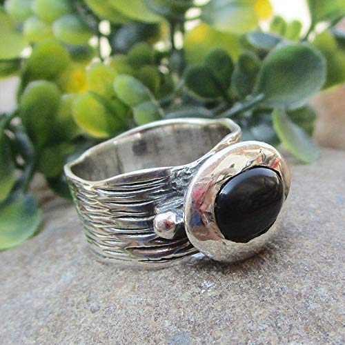 Natural Black Onyx 925 Sterling Silver Ring Gemstone Handmade Jewelry for Women