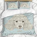 Soefipok Bettwäschesets Braun Schwarz Vintage Pudel Hundekopf Maulkorb Wildlife Award Breed Buddy Design Mikrofaser Bettwäsche mit 2 Kissenbezügen