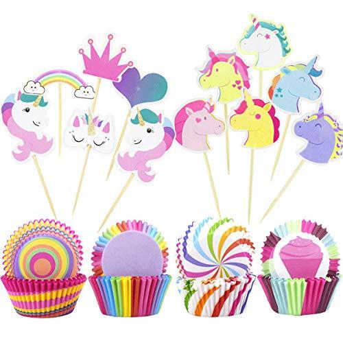 Cupcake-Förmchen-Set, aus Papier, für Cupcakes, mit Aufsätzen, für Partys, Geburtstage, Tortendeko, 148 Stück