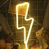 LED Relámpago Letreros de Neón - Protecu USB o Letreros LED de Batería para Decoración de Pared | Luces Decorativas para Habitación Letrero de Luz de Neón para Habitación Fiesta (blanco cálido)