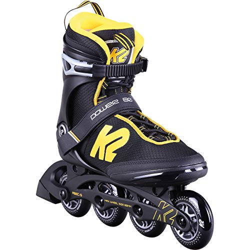 K2 Skates Herren Inline Skate Power 80 M — Black - Yellow — EU: 44.5 (UK: 10 / US: 11) — 30D0401