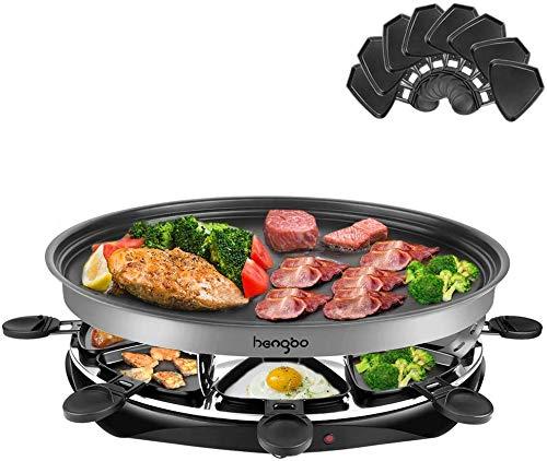Hengbo Raclette Grill Rund mit Antihaft für 8 Personen, 8 Pfännchen und 1 Holzspatel, Regelbarer Thermostat, 1500 Watt
