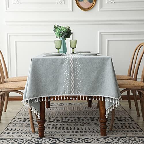 marca blanca Mantel rectangular con diseño de jacquard, resistente al encogimiento, a prueba de derrames, a prueba de polvo, para cocina, comedor, patio, fiesta al aire libre, 140 x 240 cm
