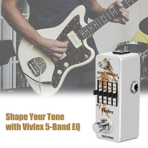 Vivlex LEF-317A Ecualizacion Guitarras EQ Ecualizador Pedal Mini Analógico 5 Bandas Ecualizador Graphic Ecualization para Guitarra eléctrica con True Bypass