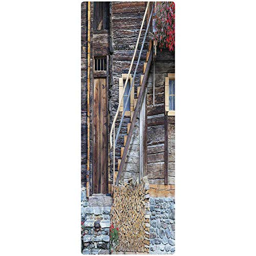 Shutters Kitchen Mat, 2'x3', Flowers and Firewood Pile Decorative Runner Rug with Non Slip Backing for Hallway Entry Way Floor Carpet