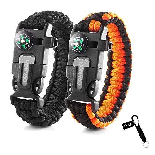 HONYAO Paracord Armband Survival Gear Multifunktions Kit mit Eingebautem Kompass, Feuerstarter, Notfallmesser & Whistle - Schnellwechsel Slim Buckle Design Wanderausrüstung (2 Stück + Geschenk)