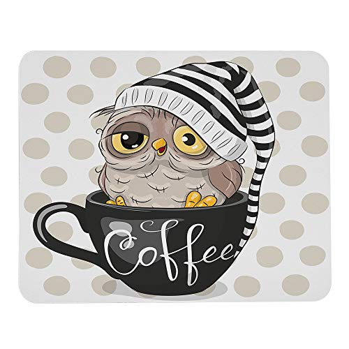 Wozukia Cute Cartoon Owl Mouse Pads is Sitting in A Cup of Coffee and Wearing Cap Brown Dots Decor Office Accessories Modern Mouse Pad Personalized Mouse Mat Mousepad Cubicle Decor 9.5'x7.9' Inch