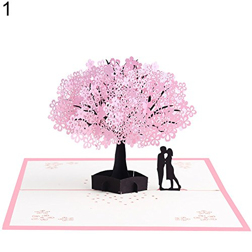 Bodhi2000 Carte de vœux 3D en papier pop-up Cerisier pour anniversaire de mariage Saint Valentin Cadeau de vacances style 1