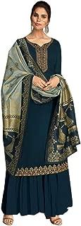 Ready To Wear Heavy Designer Georgette Satin Salwar Kameez Banarasi Silk Zari Dupatta Full Stitch Suit Indian Traditional Muslim Hizab Festive Wedding Bollywood Party Wear 8655
