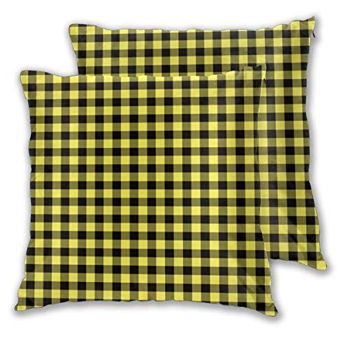 Juego de 2 fundas de cojín, cuadradas, fundas de almohada amarillas y negros, cuadradas, fundas de almohada decorativas, fundas de almohada para dormitorio, sala de estar, 45 x 45 cm