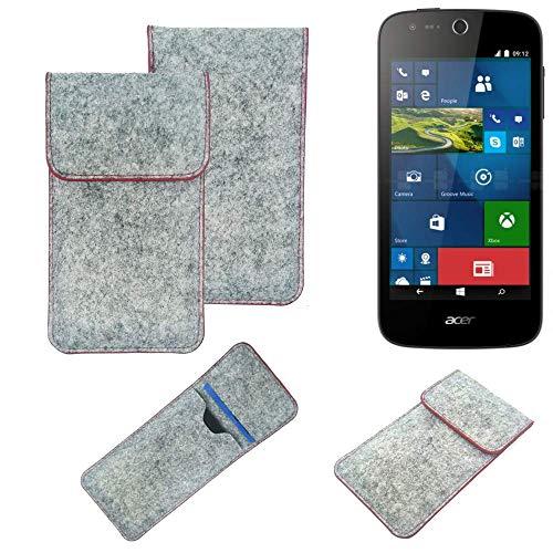 K-S-Trade® Handy Schutz Hülle Für ACER Liquid M330 Schutzhülle Handyhülle Filztasche Pouch Tasche Hülle Sleeve Filzhülle Hellgrau Roter Rand
